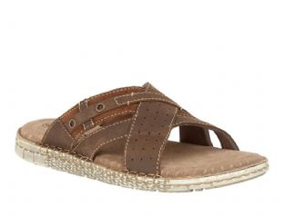 Lotus Claude Mens Brown Leather Open Toe Slide Sandals